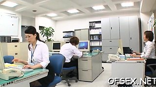 Office workers manhandle and bang young babe