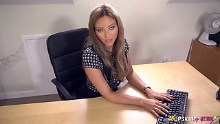 Sexy secretary Natalia Forrest shows her pussy under the table