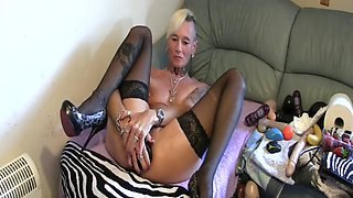 Hot granny bound metal milf pierced goth riding huge dildo