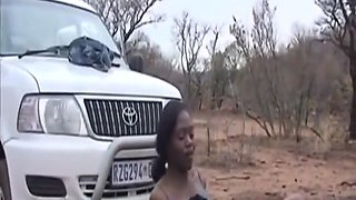 African Slave Gets Pussy Stretched Outdoors