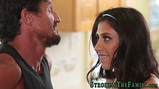 This smoking hot latina babe gives a head to her step father with a massive schlong and then receives it in her wet muff