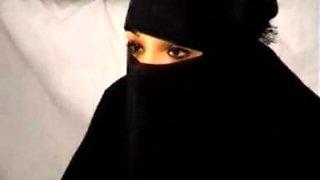 Black Burqa Arabian Muslim Girl Nadia sucks on Big West European Republican French Penis