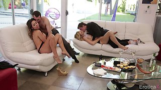 Double dating hotties have an erotic foursome with their men