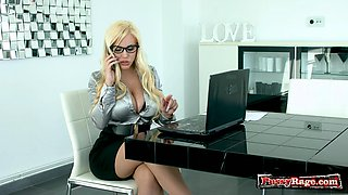 Big tits pornstar office sex and cum in mouth
