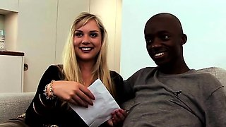 This cute blonde can't get enough of his big black cock and