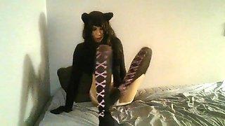 Nasty college girl crossdresser solo