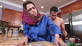 Horny macho doggy fucks super busty Indian housewife Ada S at kitchen tough