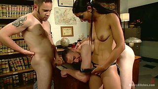 Crazy bitch Lyla Storm likes to dominate and prefers dirty threesome sex