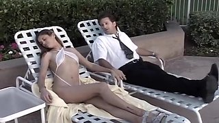 Sexy Lady In White Bikini And Blindfold
