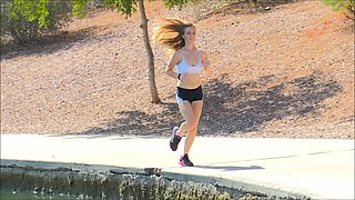 Sporty blonde teen Dakota jogs and takes off her clothes along the way
