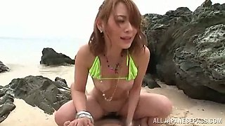 He meets a hot Asian girl at the beach and puts the meat in her
