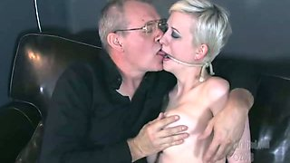 Perverted geezer ties up and feels up slender blonde with big full natural tits