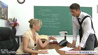 Hot busty teacher fucked like a slut by a student