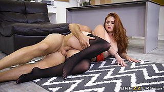 lennox luxe laying on the floor gets her bald cunt screwed