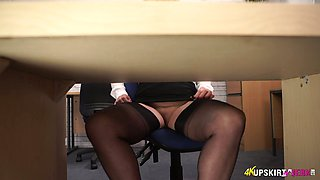 Office slut Lucy Gresty spreads legs wide open and shows off her pussy upskirt