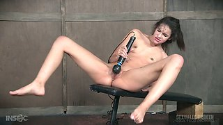 Two dudes punish Eden Sin's pussy and make it squirt all over the place
