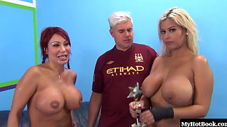 Ava Devine and Bridgette B compete to see who can suck dick the