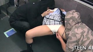 Lewd young schoolgirl mounts a hard pole and rides it wildly