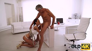 Old daddy penetrates smokinghot secretary in several poses