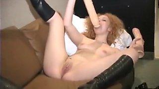 Julia moans from brutal dildo insertion