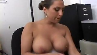 Sexy Busty Secretary Pleasures Her Boss