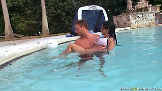 exotic chick abella anderson swimming with a guy in the pool and showing her boobs