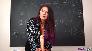 Big breasted tutor Roxy R undresses and wanks lubed dildo at work