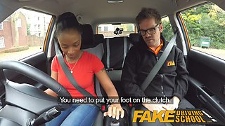 fake driving school ebony learner with big tits