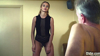 Old Man Dominated sexy hot babe old young femdom hard