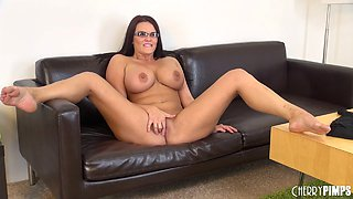 Model with big tits and glasses loves touching her shaved beaver