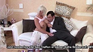 Big Tit German MILF seduce Young Guy agent to Fuck