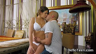 Busty virgin Aza Puzo stripped and fucked