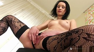 Nasty brunette Gitti expresses her passion for big toys and hot piss