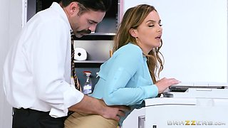 busty intern cums on colleague's desk
