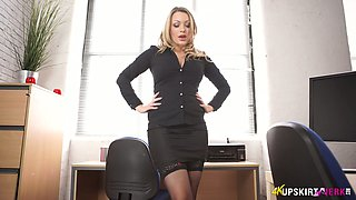 Lewd secretary in stockings Penny Lee is stripping in the office