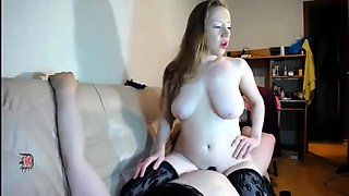 Busty Russian camgirl in stockings gets rammed from behind