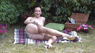 Stocking clad Sophia Smith masturbating outdoors