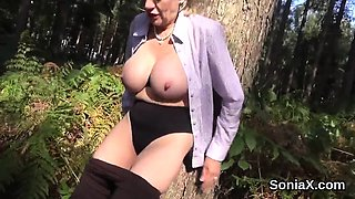 Cheating british milf lady sonia pops out her oversized tits