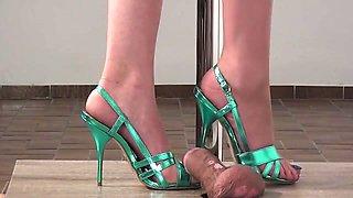 shoejob blue sandals heel insertion