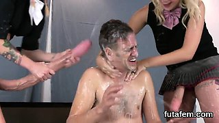Nymphos ride men anal hole with huge strap-ons and ejaculate