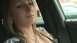 Sexy blonde mommy exposes her really big boobs in my car