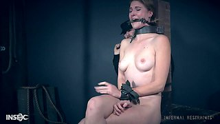 Suffocation fetish scene with Ashley Lane tied to the table
