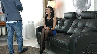 Elegant teen babe Sheri Vi pounded in silky stockings
