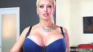 Fake-titted Alura Jenson bouncing on a long-haired dude's cock