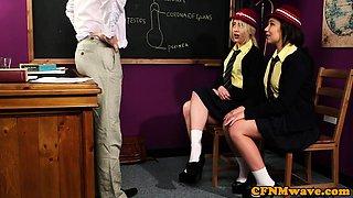 Cute cfnm schoolgirls satisfy professor