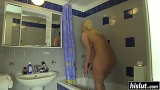 Amazing shower fucking featuring hot Bambi