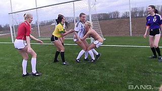 Fine ass teen Bailey stripping off clothes in football pitch