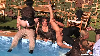 Orgy in and out of the pool