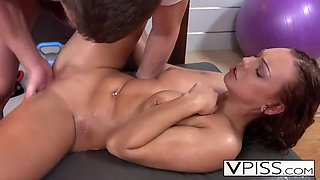 brunette pissing and getting pounded by trainer