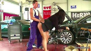 two young boy seduce big tit german milf to fuck in workshop